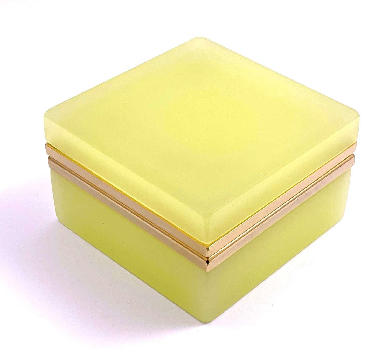 Antique Murano Square Lemon Yellow Opaline Glass Casket Box