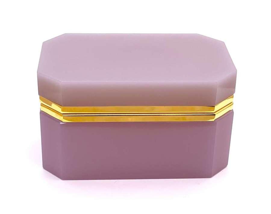 Rare XL Large Antique Pink Alexandrite Opaline Glass Casket Box