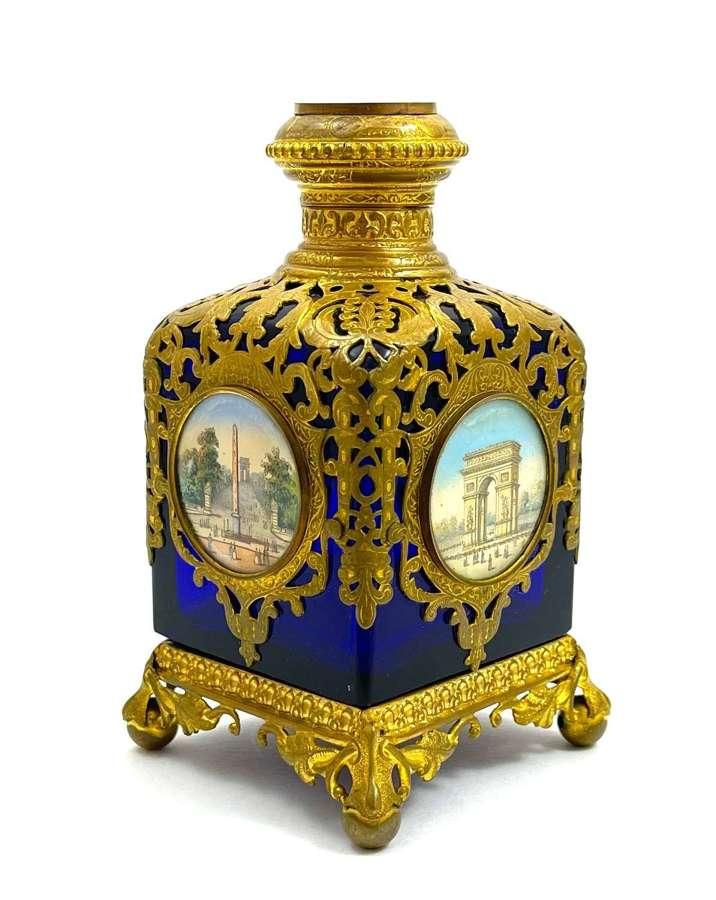 Large Antique Palais Royal CobaltGlass Perfume Bottle 5 Miniatures