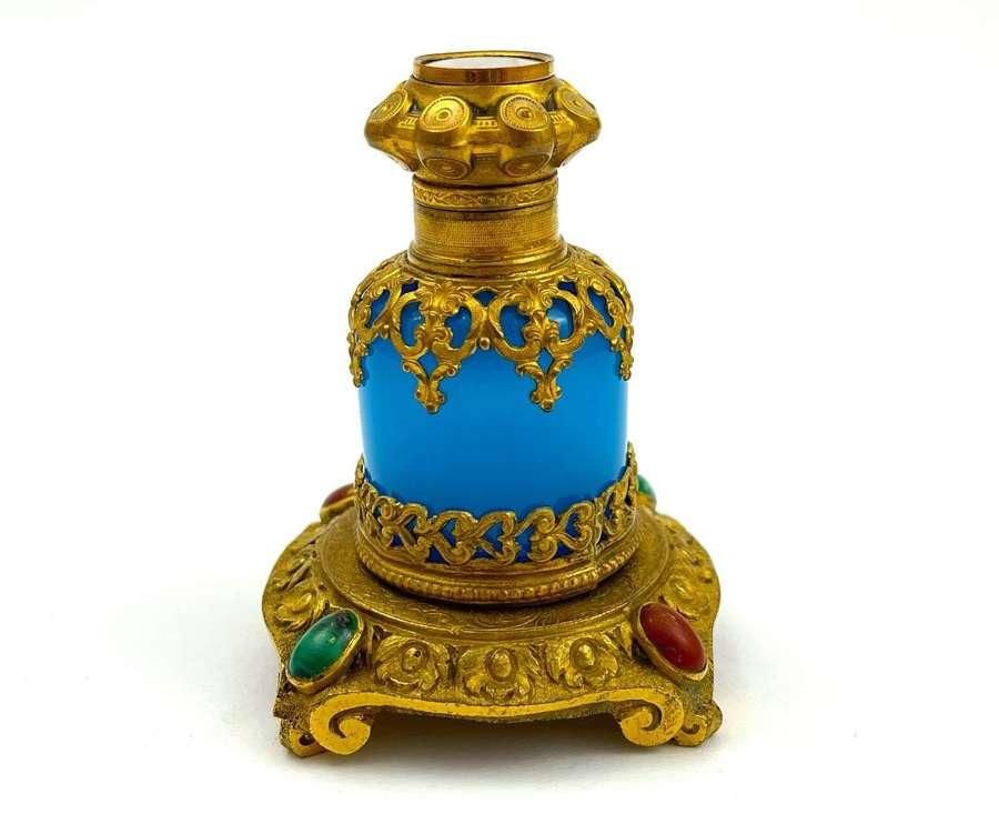 Unusual Palais Royal Opaline Perfume Bottle with Malachite & Cornaline