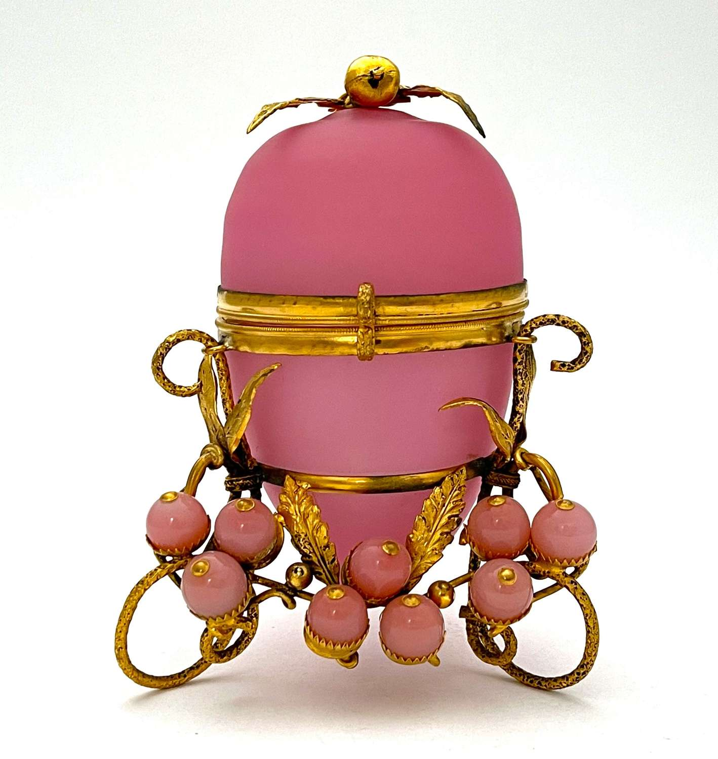 Antique French Palais Royal Pink Opaline Glass Egg with Baubles