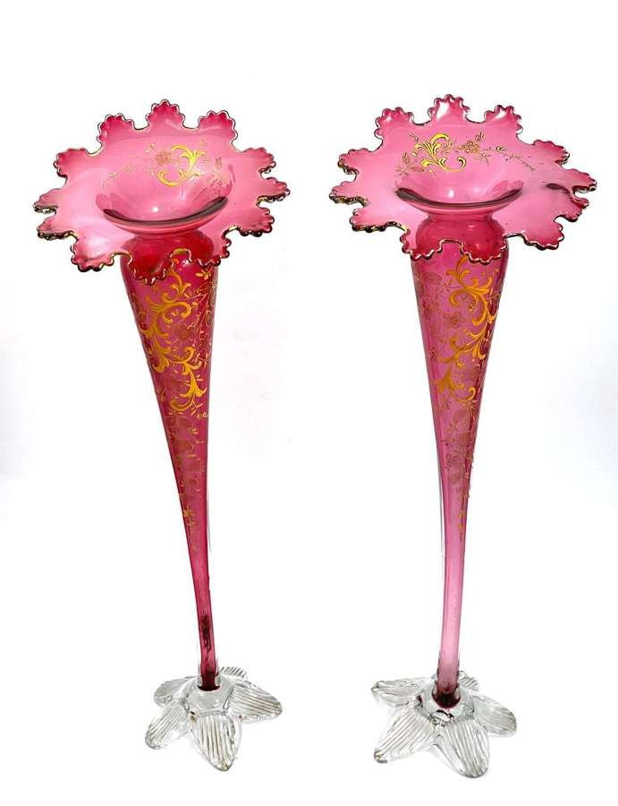 Pair of Tall Antique French Cranberry Glass Trumpet Vases