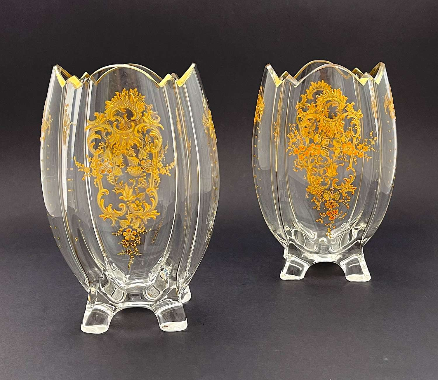 Pair of Antique MOSER Clear Glass Gold Enamelled Vases