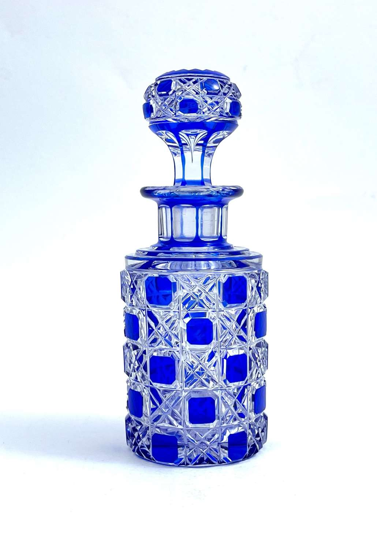 Antique BACCARAT Cobalt Blue Hobnail Cut Crystal Perfume Bottle