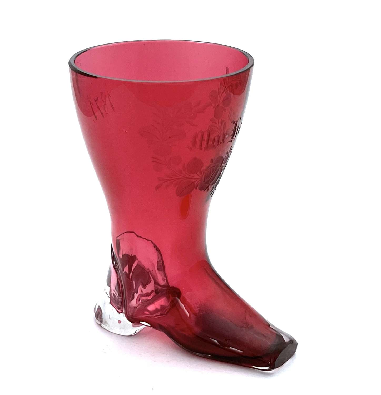 Antique Whimsical Cranberry Glass Boot Drinking Vessel