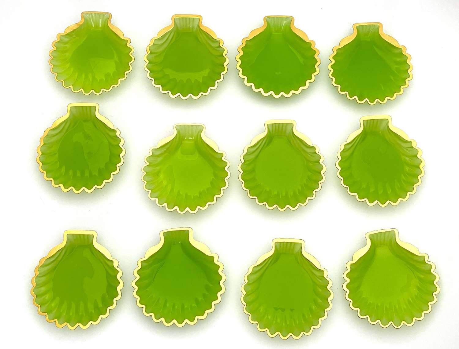 Set of 12 Antique French Green Opaline Glass Scallop Shell Dishes