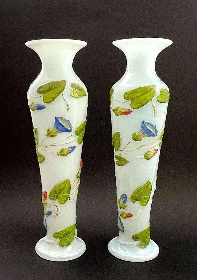 A Rare Pair of Antique Baccarat Opaline Bulle de Savon Glass Vases