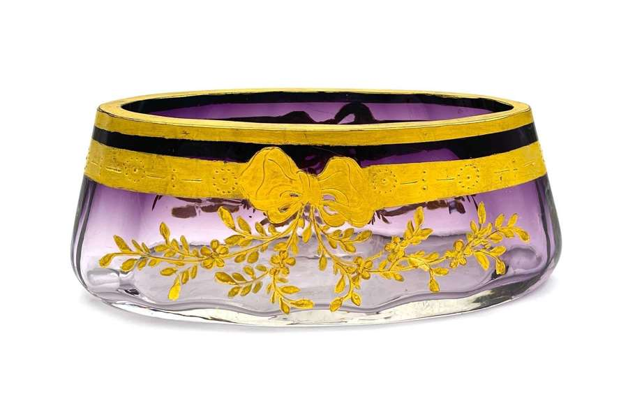 AntiqueMoser Amethyst Glass Bowl Decorated with a Gold Enamelled Bow