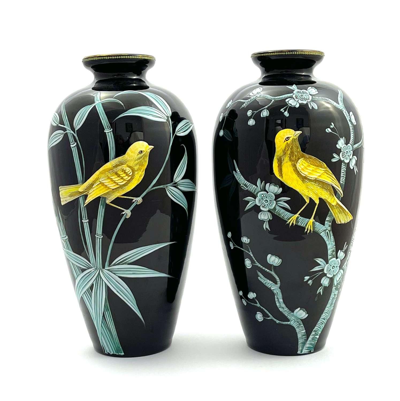 A WonderfulPair ofMOSER Black Opaline Glass Vases with Birds
