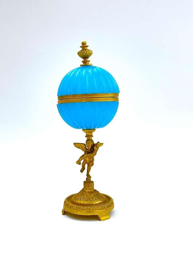 Elegant Antique French Blue Opalineand Bronze Cherub Casket