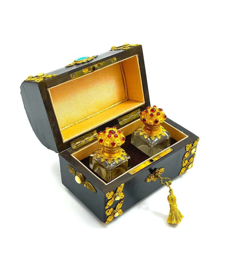Antique Perfume CasketCasket with Turquoise and Mother of Pearl