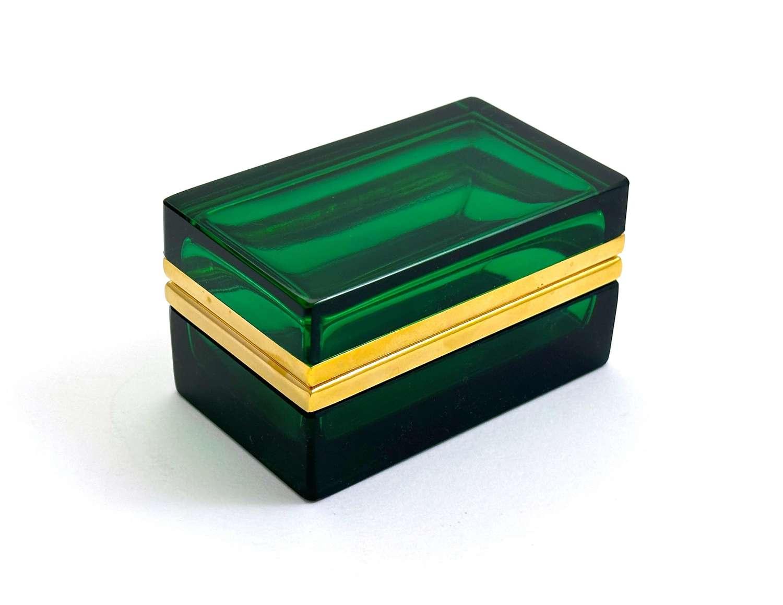 Antique Murano EmeraldGreenGlass Rectangular Casket Box