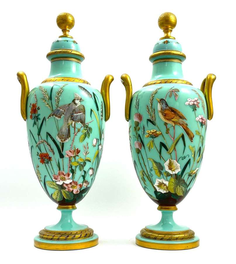 Pair of Exceptional MOSEROpaline Vases with Double Handles and Lids