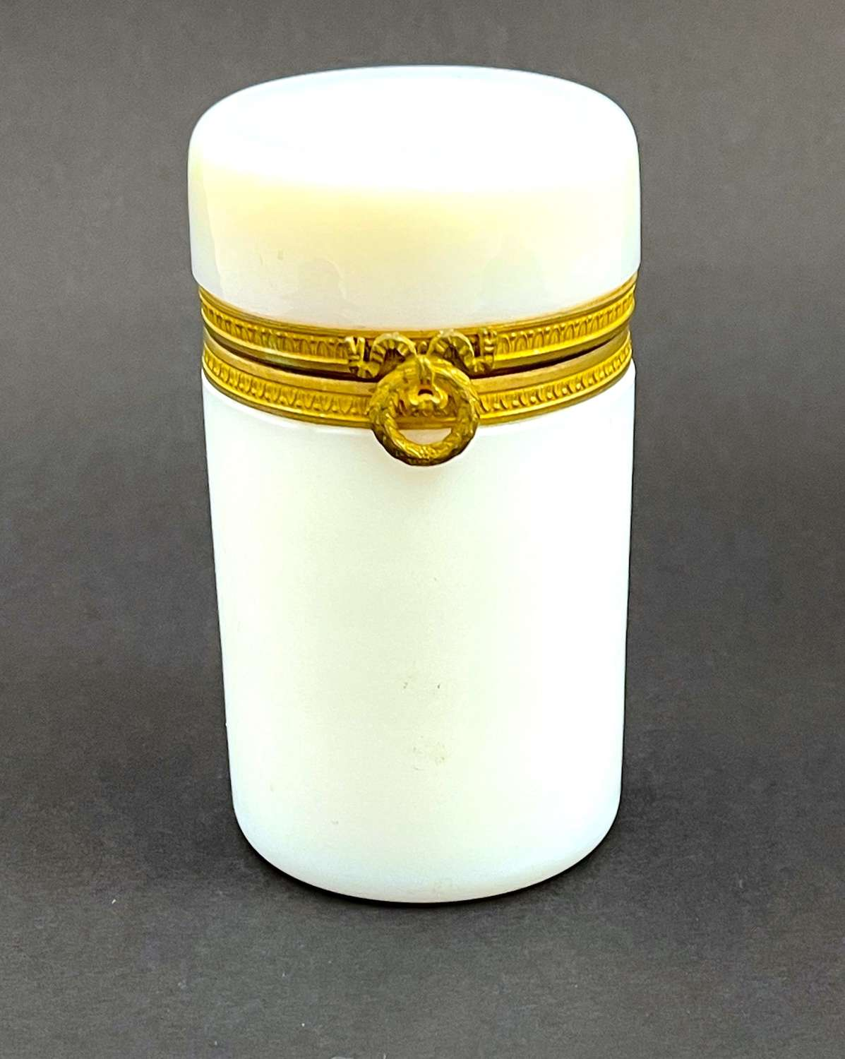Antique French White 'Bulle de Savon' Opaline Glass Cylindrical Box