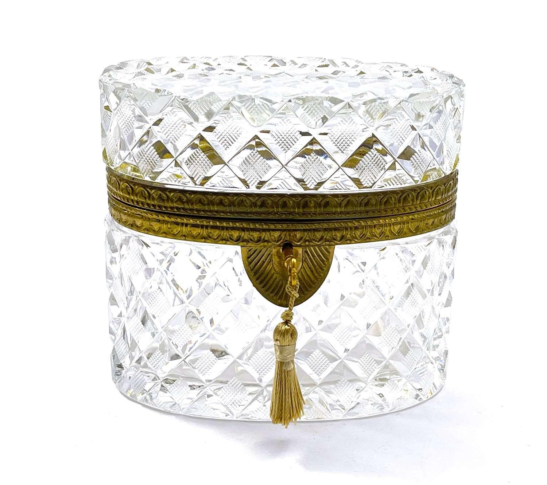 Antique BACCARAT DiamondCut Crystal Casket
