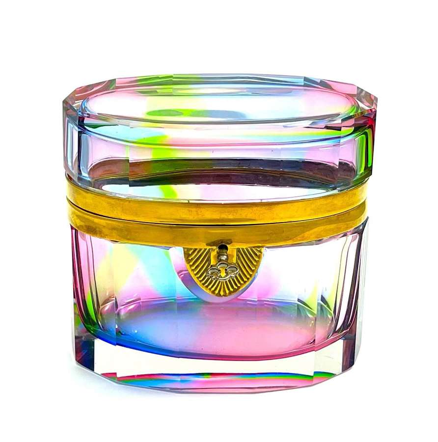 RARE Vintage Italian Murano 'Rainbow' Glass Casket Box