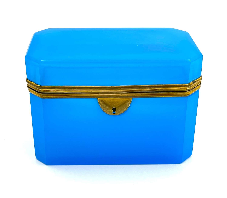 Large Antique Rectangular Blue Opaline Glass Casket Box