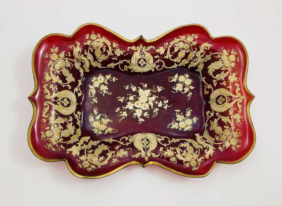 Antique Bohemian Deep Ruby Red Glass Gold Enamelled Dish