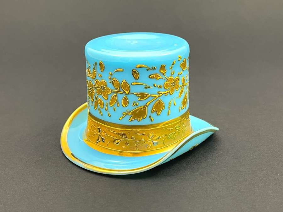 Antique MOSER Turquoise Opaline GlassWhimsical Hat.