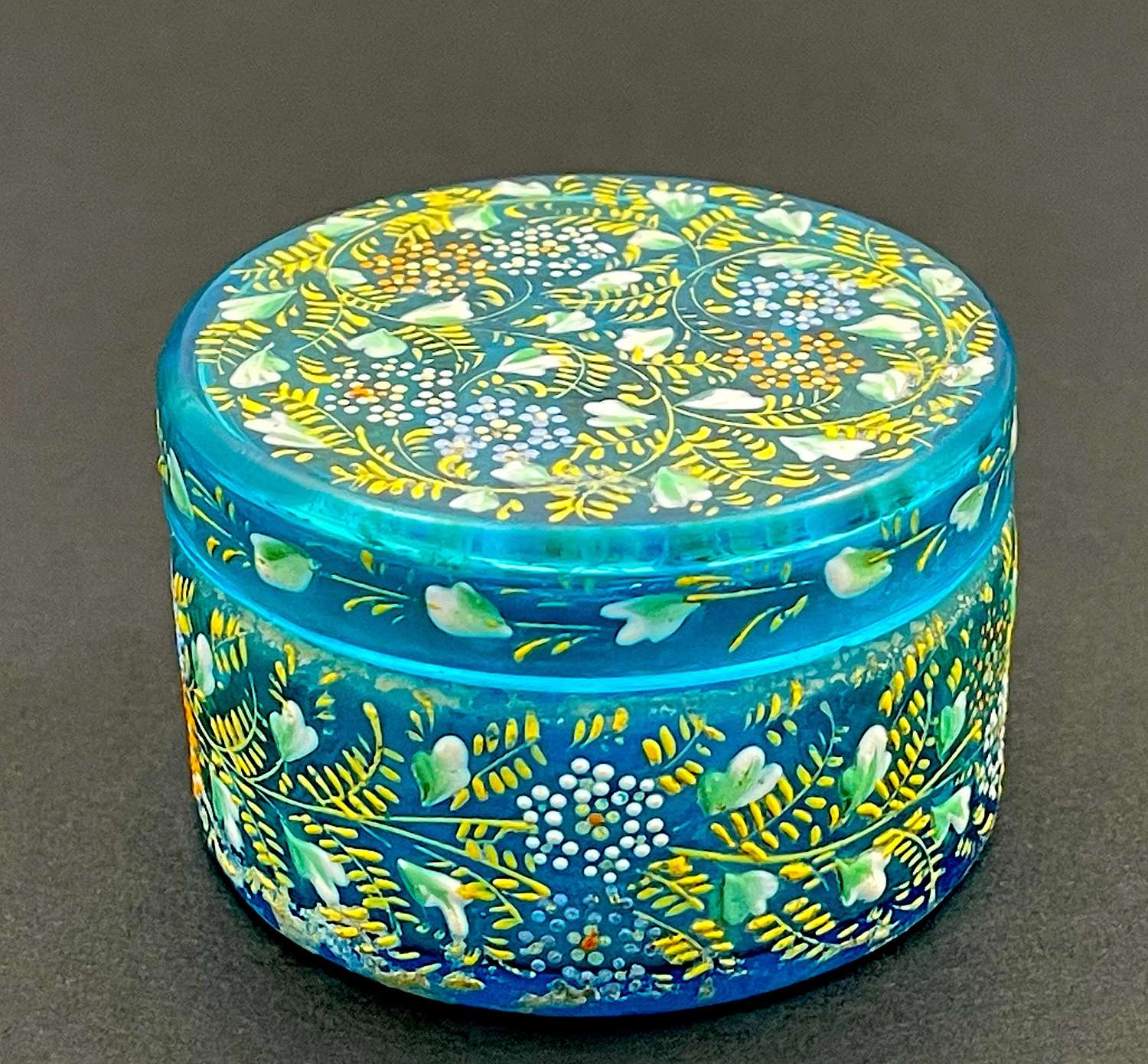 Miniature AntiqueMOSER TurquoiseCasket with Pretty Flowers