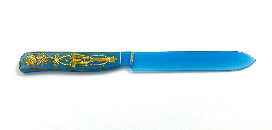 Rare Antique French Blue Opaline Glass Letter Opener