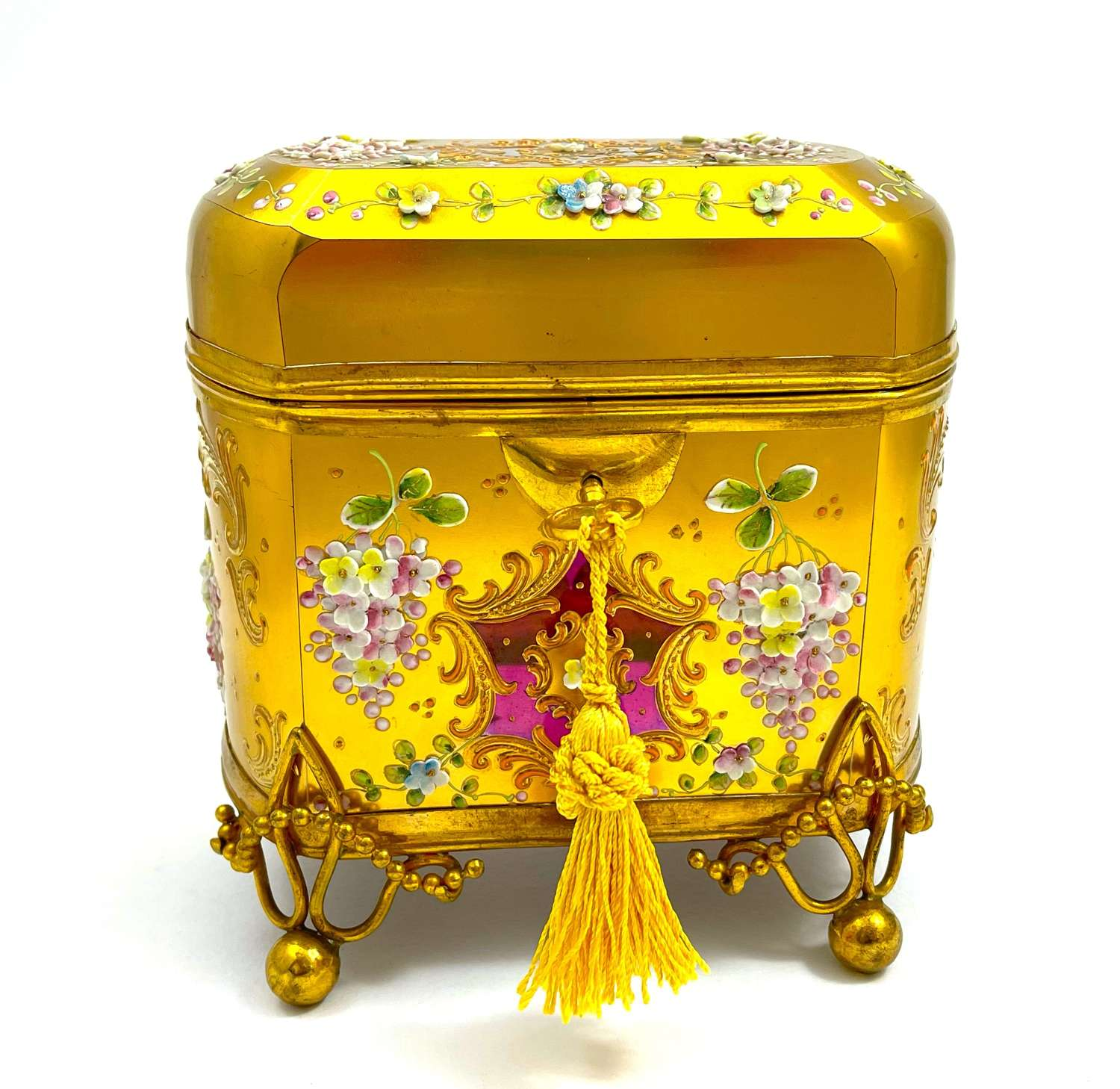 Antique Cranberry MOSER Glass Casket with Applied Flowers.