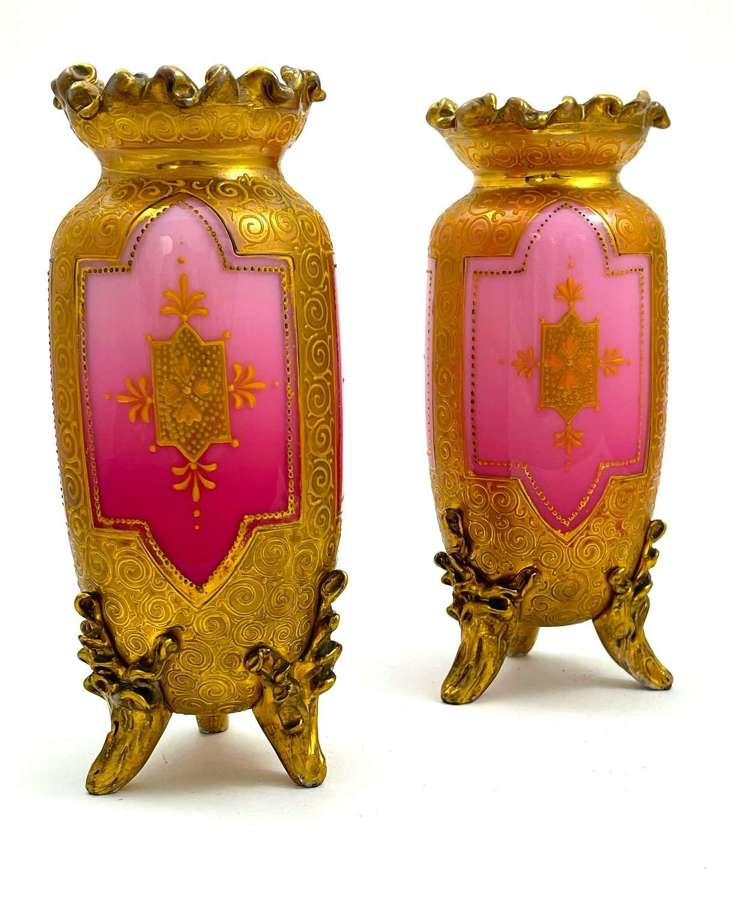 Pair of Exceptional Antique MOSER Pink Opaline Glass Vases