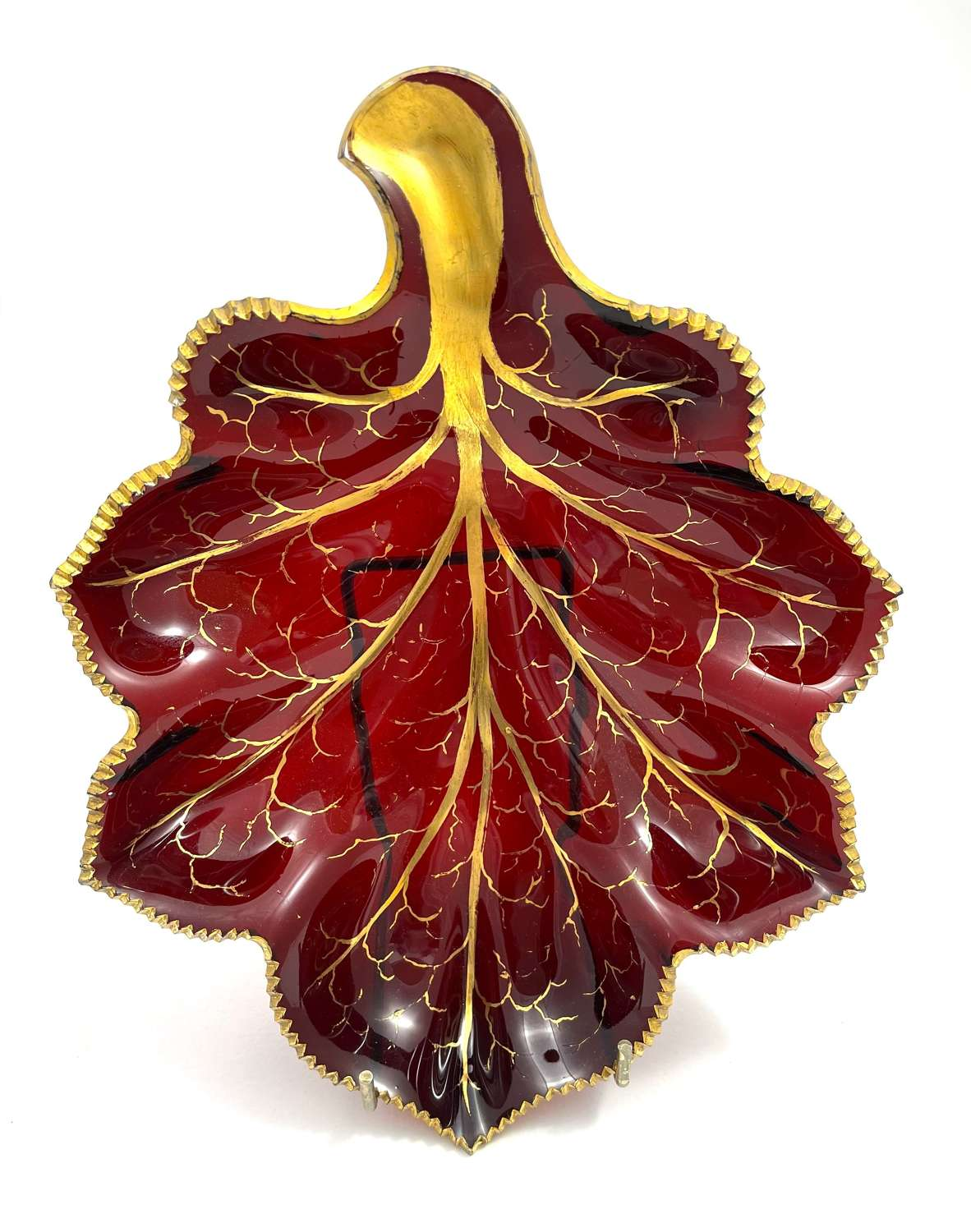 Antique Bohemian Red Glass Leaf Dish Highlighted in Gold.