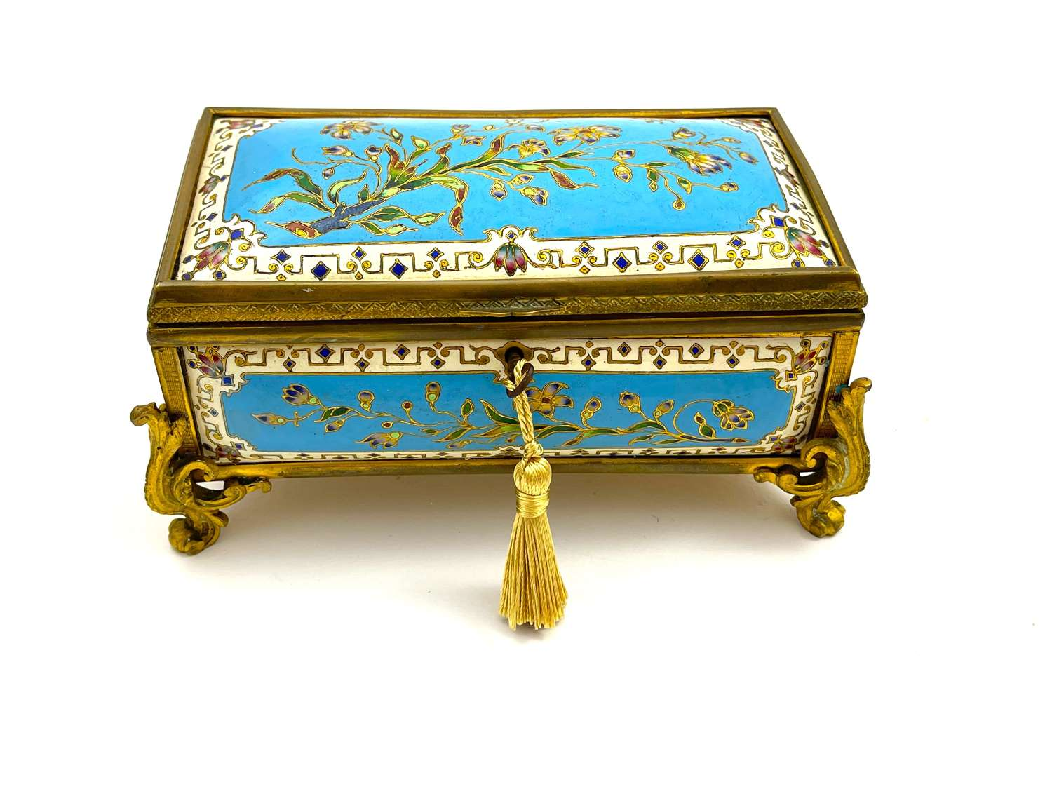 Antique French Tahan Champlevé Jewellery Box