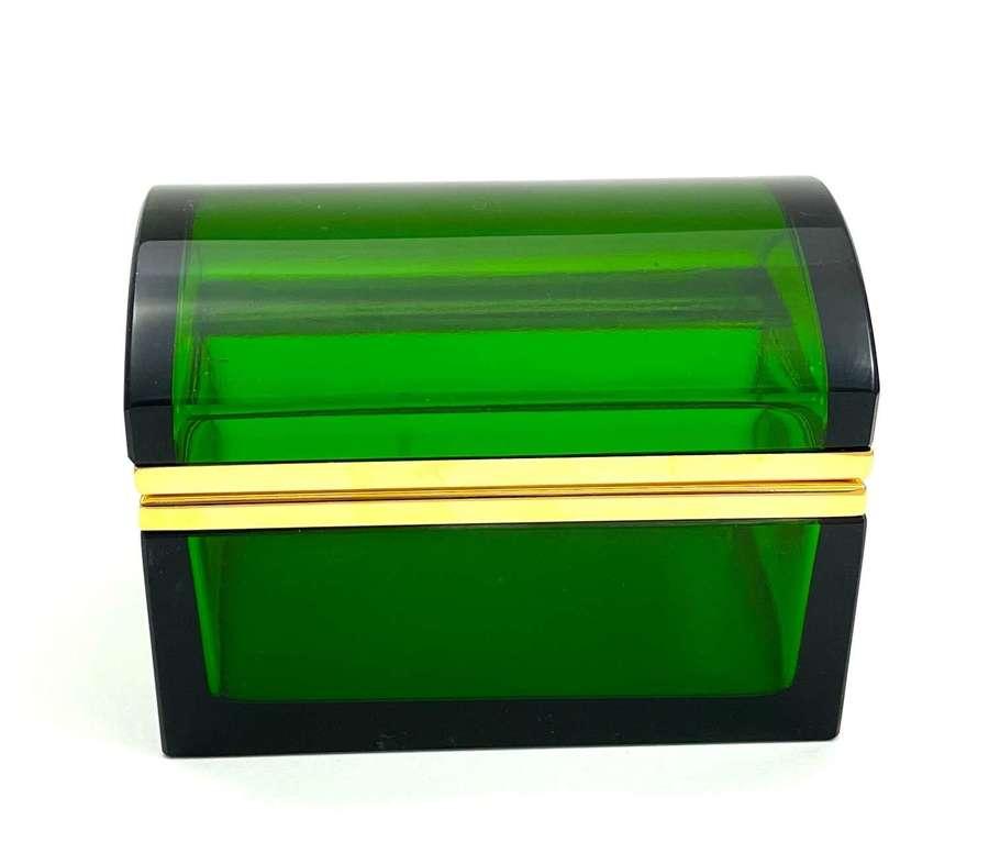 Vintage Green Glass Rectangular Casket Box with Domed Lid