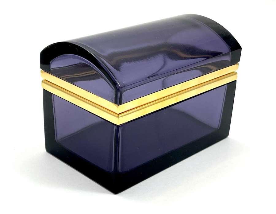 Vintage AmethystGlass Rectangular Casket Box