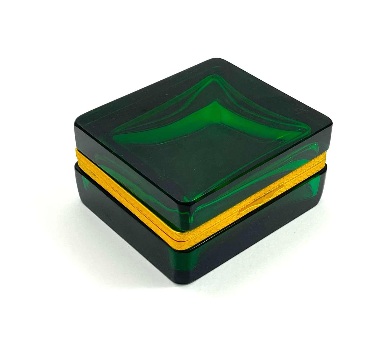 Antique Square Emerald Green Glass Casket Box