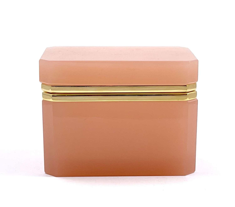 Antique Rectangular Pink Opaline Glass Casket Box