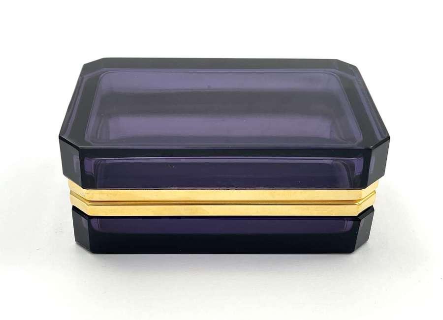 AntiqueAmethyst Glass Casket Box with SmoothDore Bronze Mounts