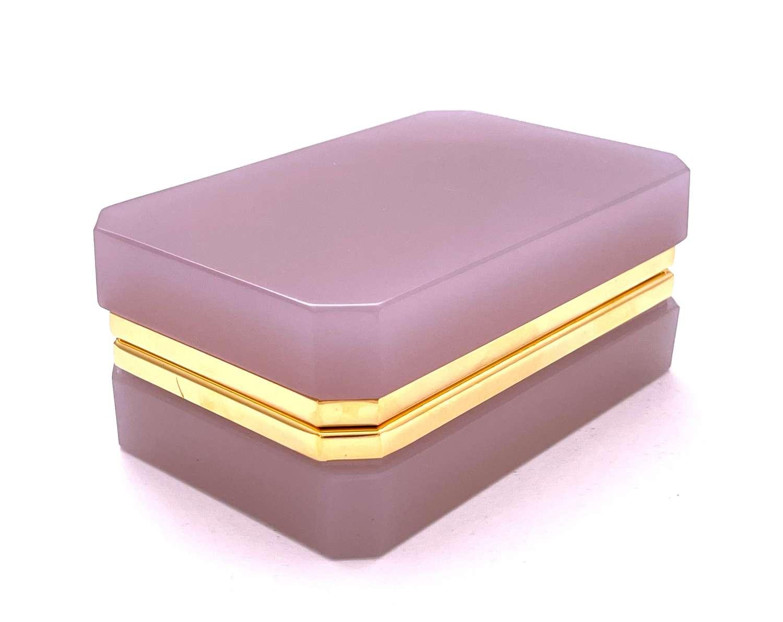 Antique Pink Alexandrite Opaline Glass Casket Box