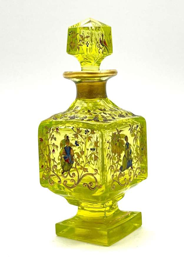 Rare Antique Bohemian Ouraline Glass Perfume Bottle