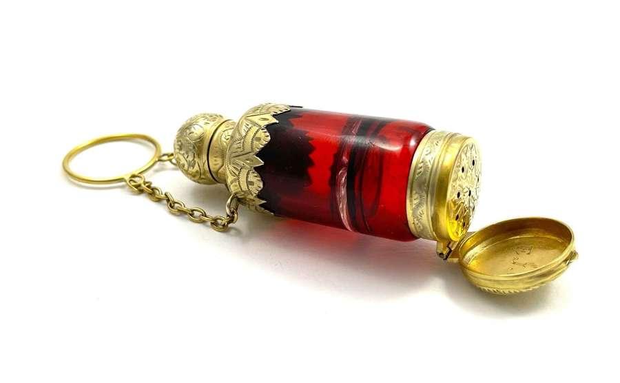 Fine Ruby Red Glass Silver Gilt Perfume and Vinaigrette