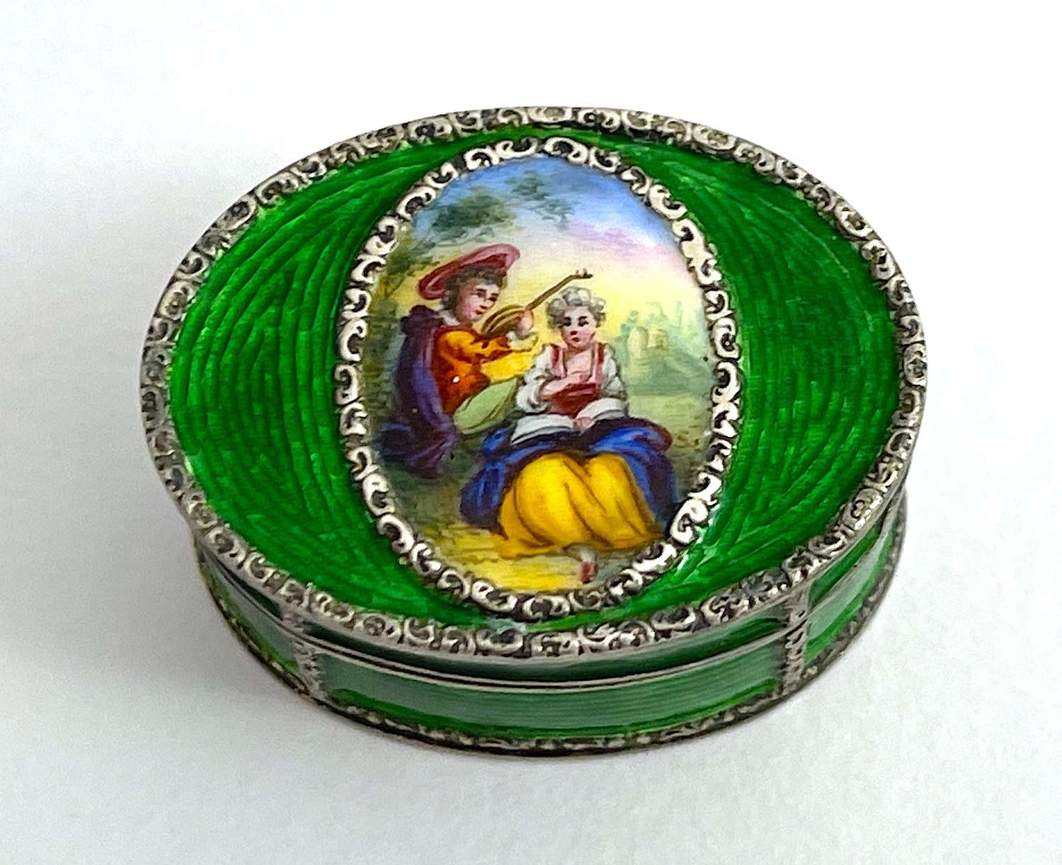 Antique French Guilloche Enamel and Silver Pill Box with Miniature