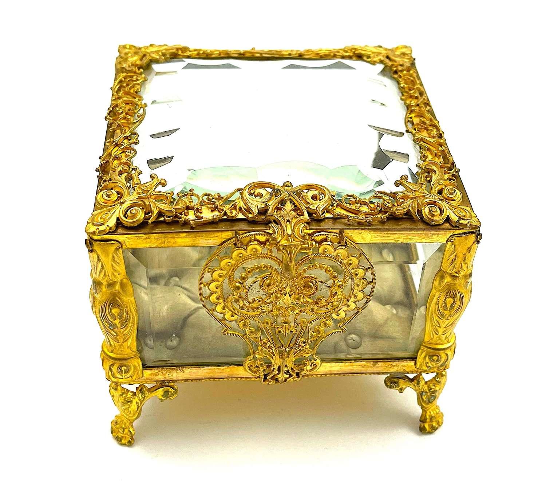 French Napoleon III Dore Bronze Jewellery Box with Heart Shaped Lock