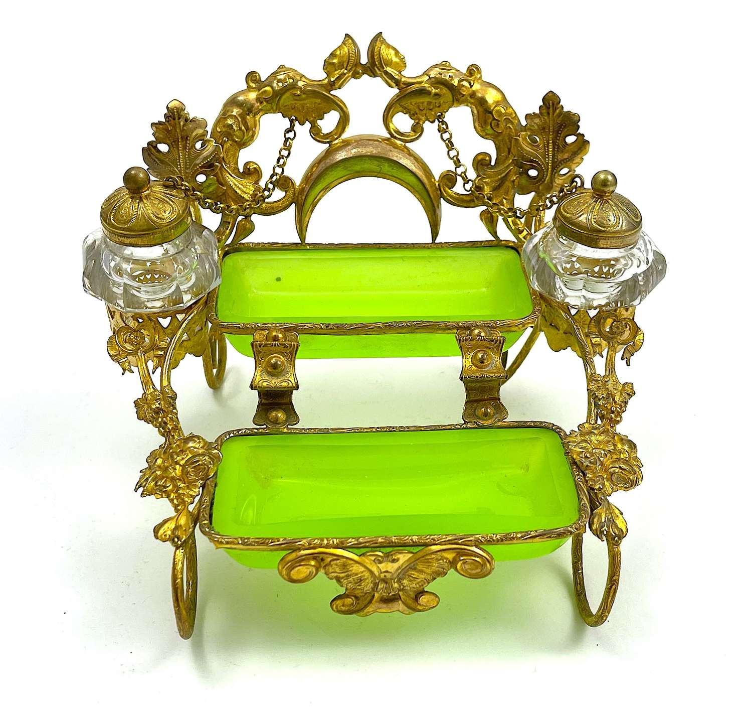 Antique Palais Royal French GreenOpaline Glass Double Inkwell.