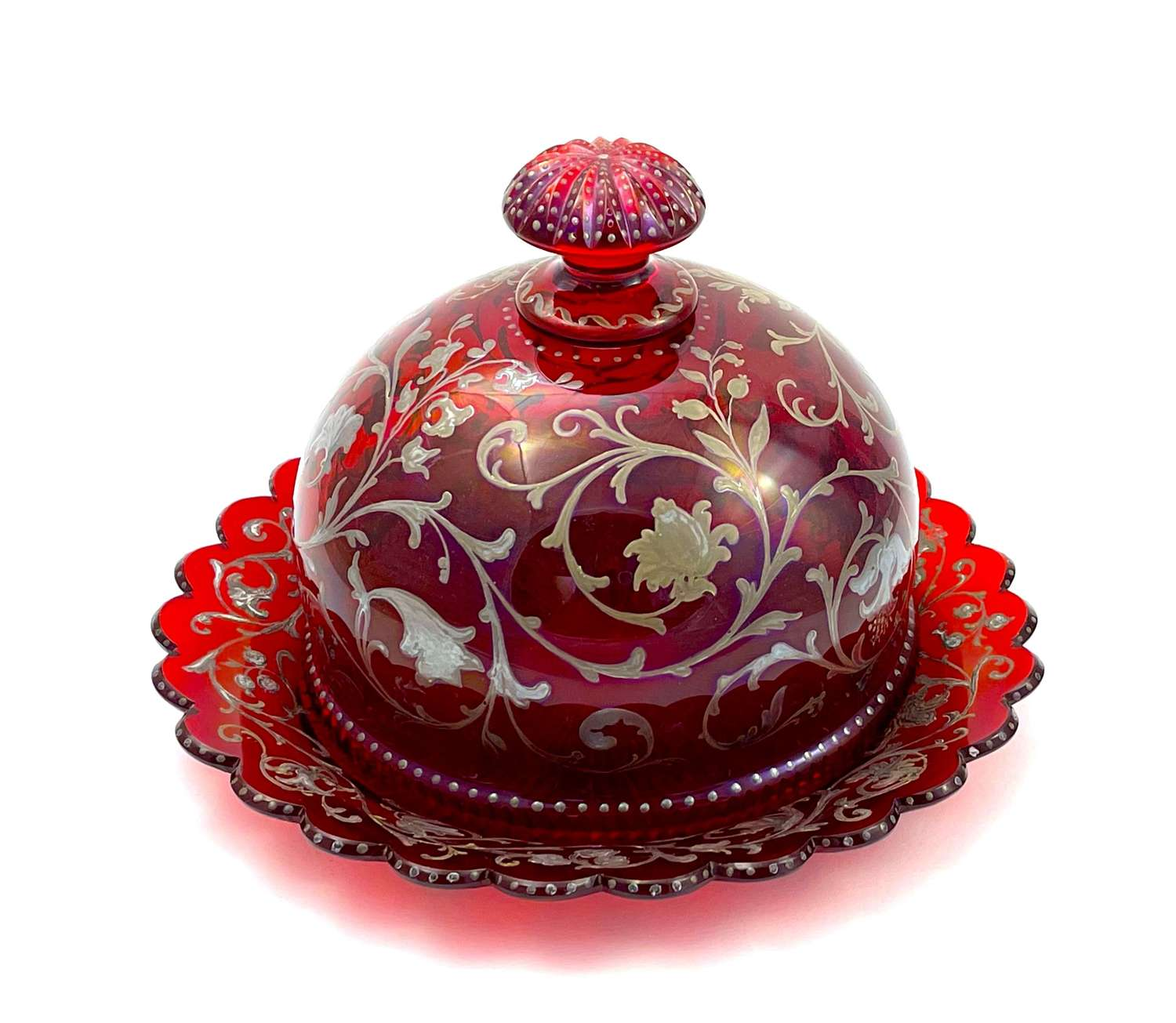 Antique Bohemian Ruby Red Dish with Silver Enamel Decoration
