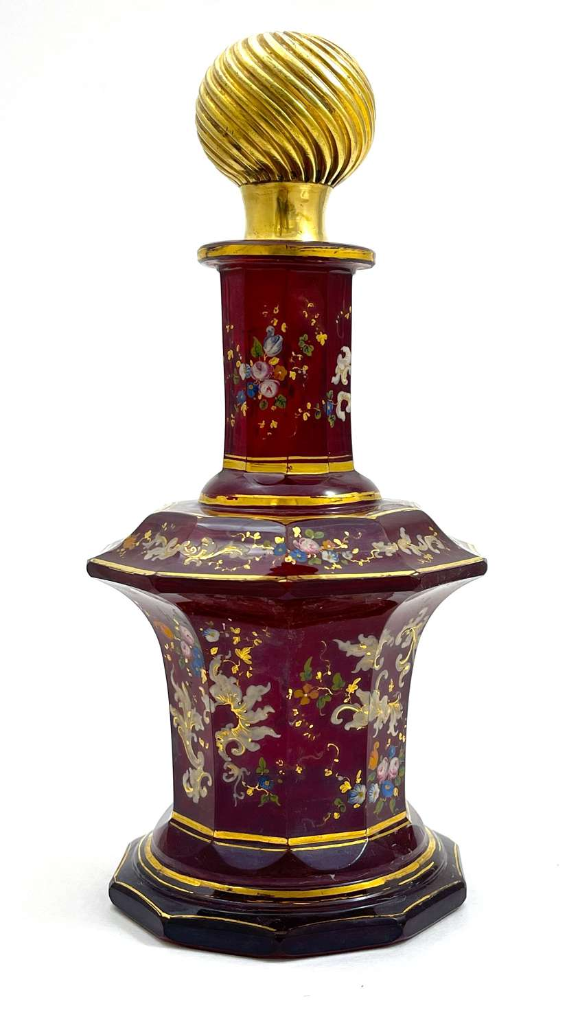 Large Moser Ruby Red Glass Perfume Bottle with Flowers