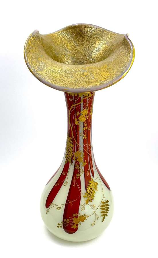 Stunning Large HARRACH Opaline Glass Vase for Legras.