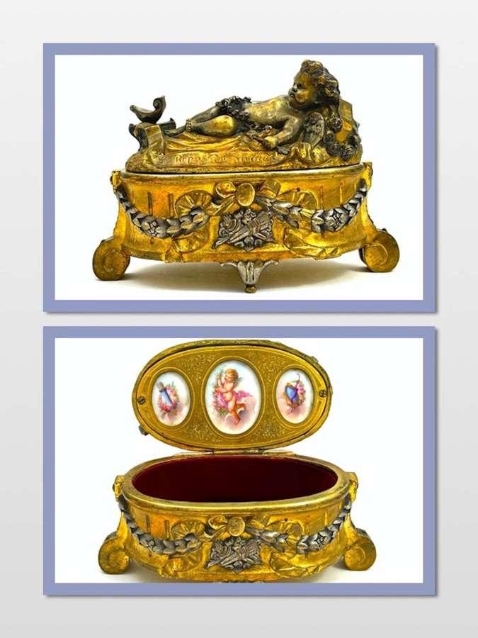 Antique French Dore Bronze JewelleryCasket