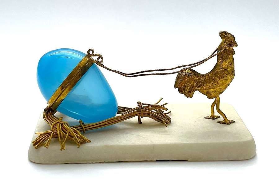 Antique Palais Royal Bronze Cart Pulled by a Finely Model Cockerel