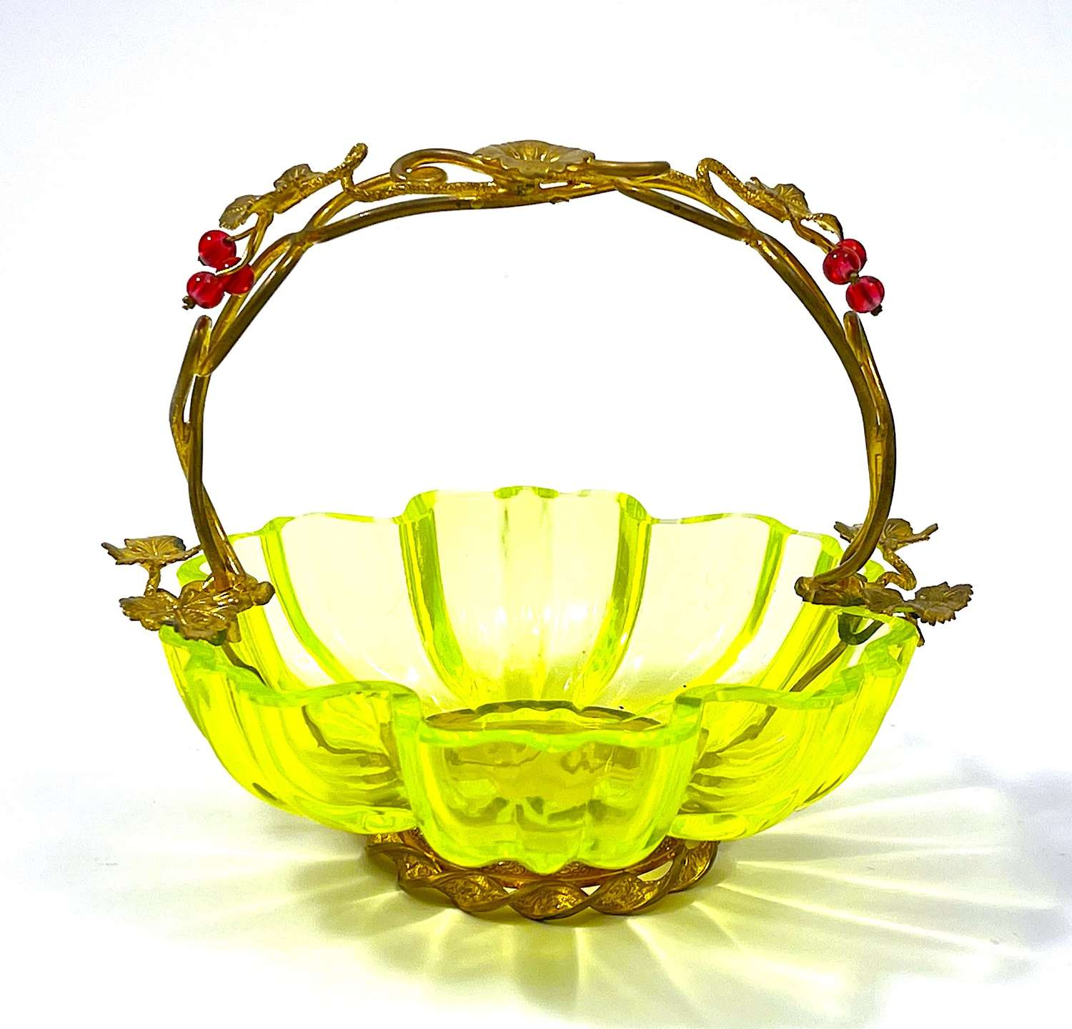 Antique French Ouraline / UraniumGlass Basket with Red Baubles
