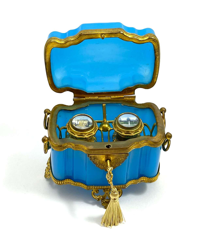 AntiqueFrench Blue Opaline Glass Perfume Casket