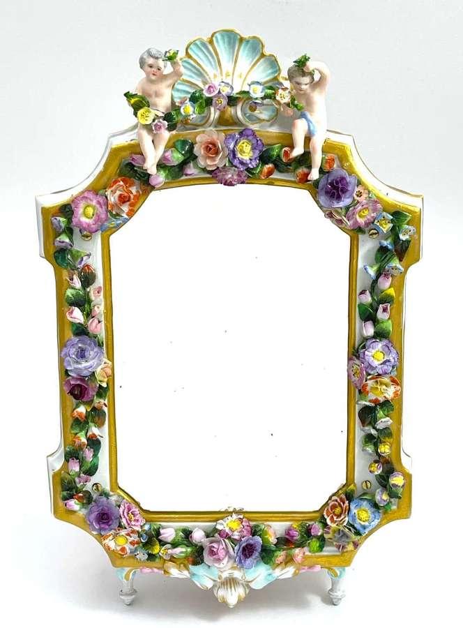 Antique German Meissen or Dresden Porcelain Mirror with Cherubs