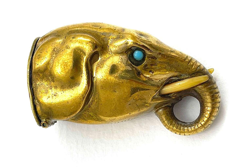 Unusual Antique Elephant Vesta Case