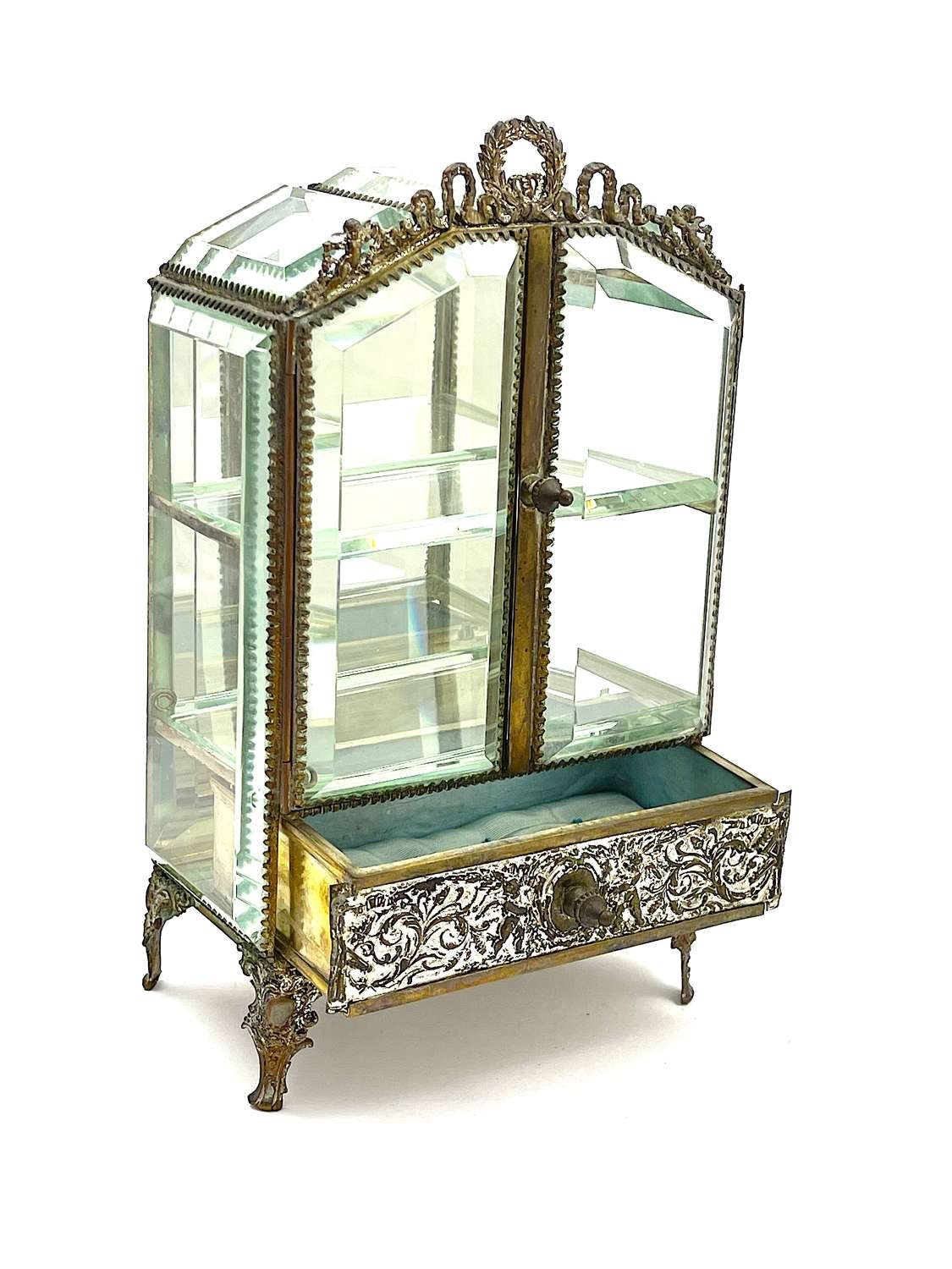 Antique French Vitrine Box with 2 Opening Beveled Glass Doors